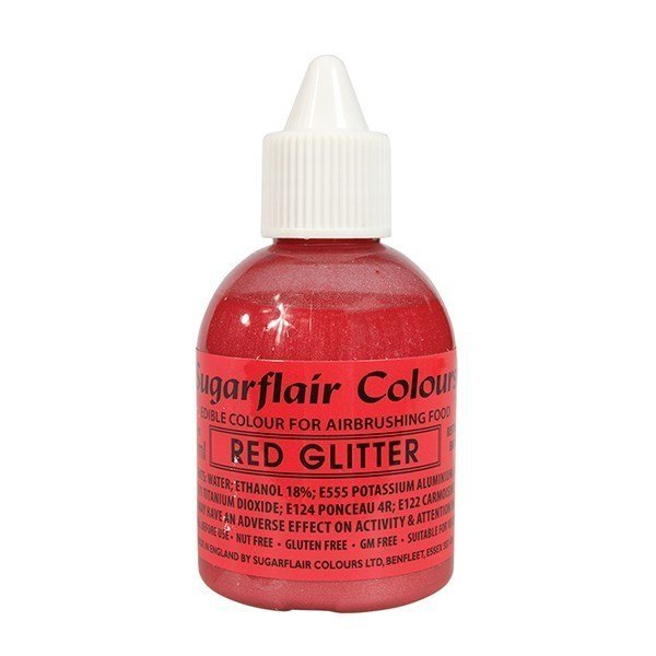 Sugarflair Airbrush Colour - Red Glitter 60ml