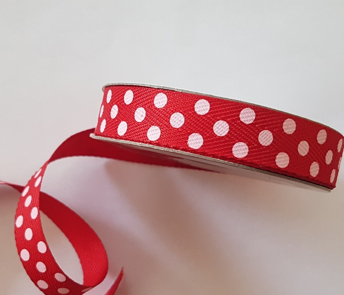 15mm Red Twill with Large Pink Dot 4 Metre - Bakeworld.ie