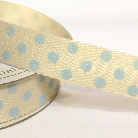 15mm Cream Twill with Large Blue Dot 4 Metre - Bakeworld.ie