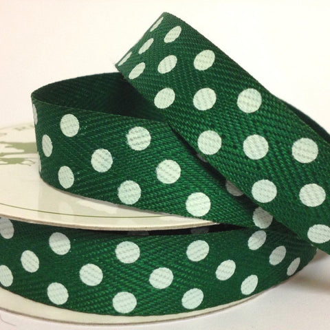15mm Green Twill with Large White Dot 4 Metre - Bakeworld.ie