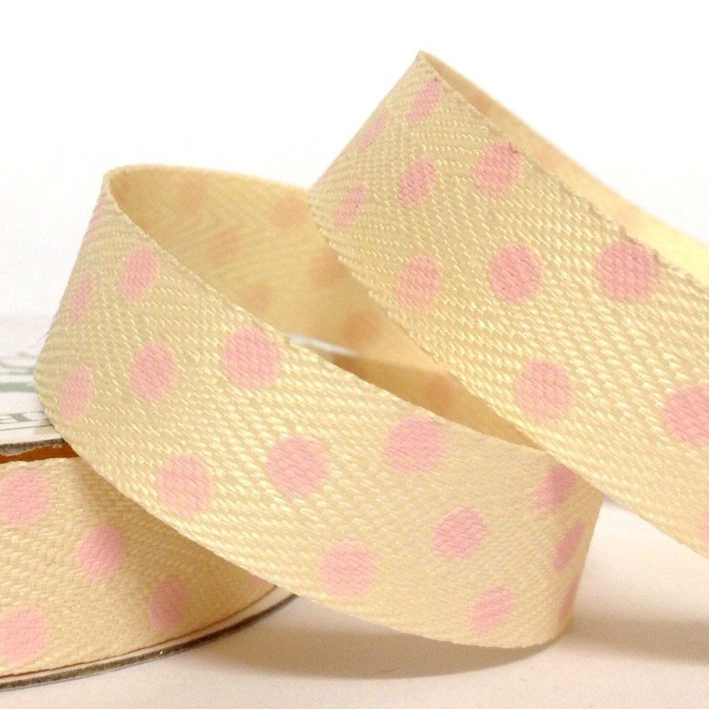 15mm Cream Twill with Large Pink Dot 4 Metre - Bakeworld.ie