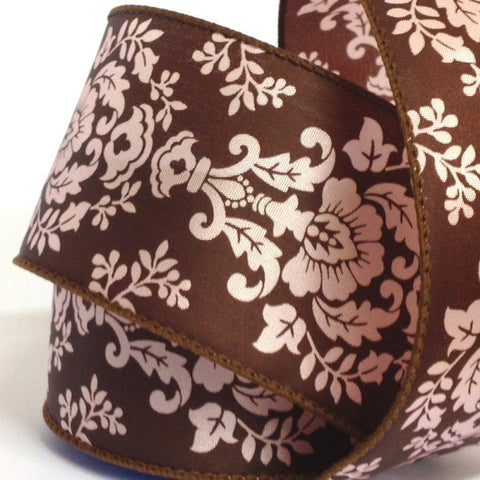 63mm Brown & Pink Damask Wired Edge 2.7 Metre - Bakeworld.ie