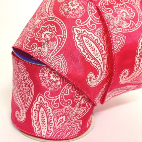 63mm Hot Pink & White Paisley Wired Edge 2.7 Metre - Bakeworld.ie