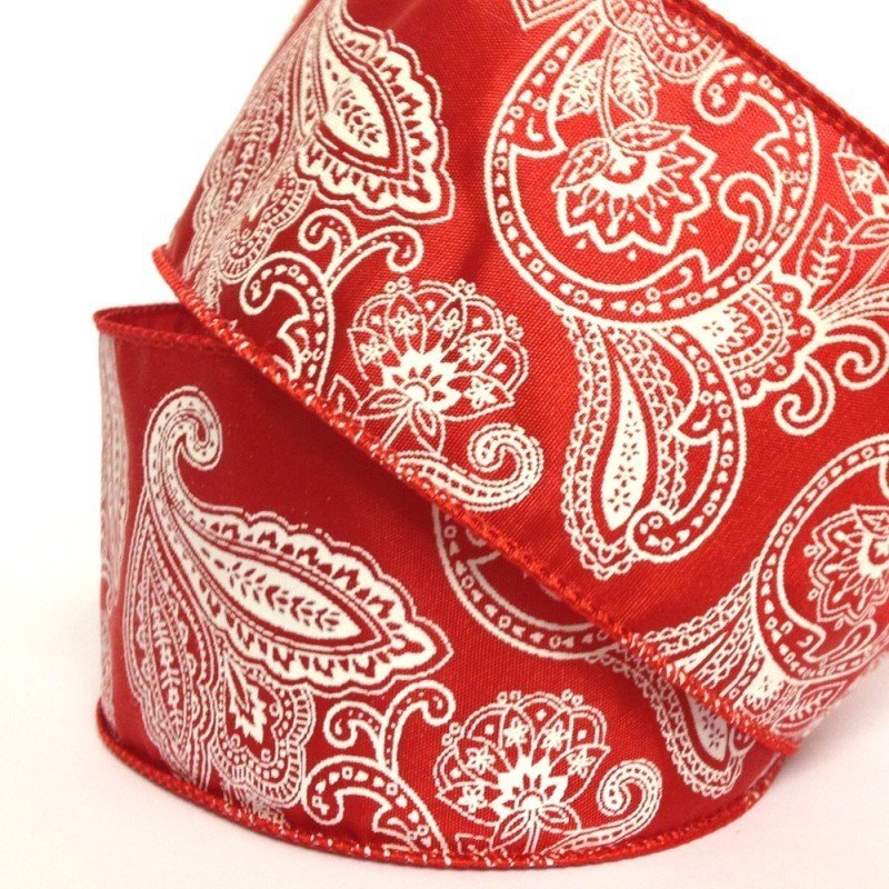63mm Red & White Paisley Wired Edge 2.7 Metre - Bakeworld.ie