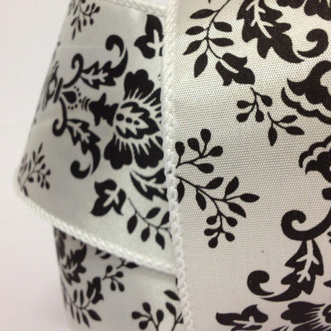 63mm White & Black Damask Wired Edge 2.7 Metre - Bakeworld.ie