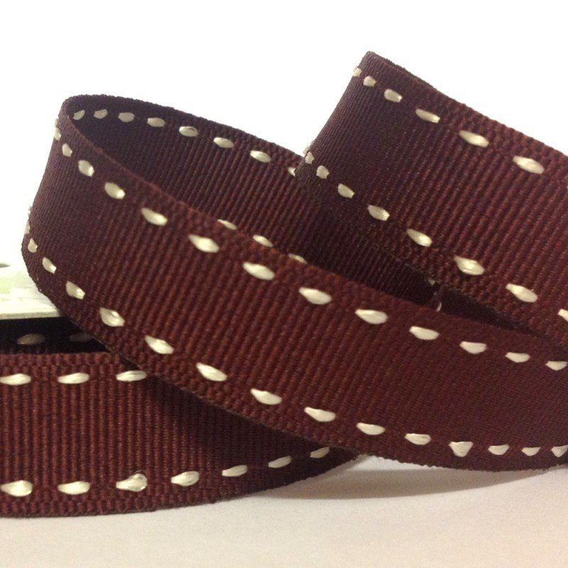 15mm Side Stitch Ribbon Chocolate 4 Metre - Bakeworld.ie