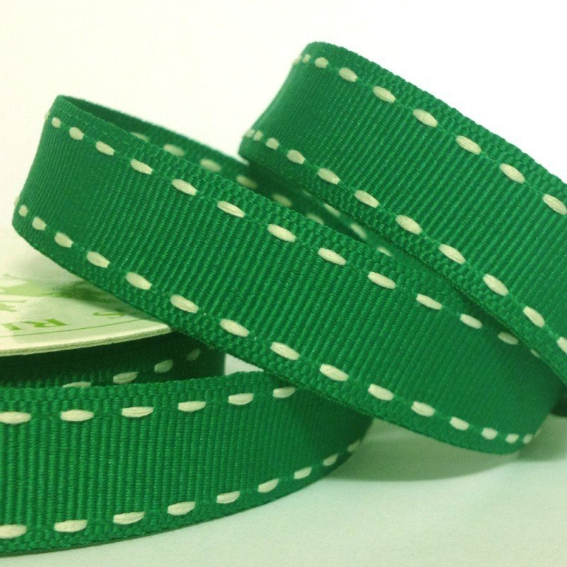 15mm Side Stitch Ribbon Holiday Green 4 Metre - Bakeworld.ie