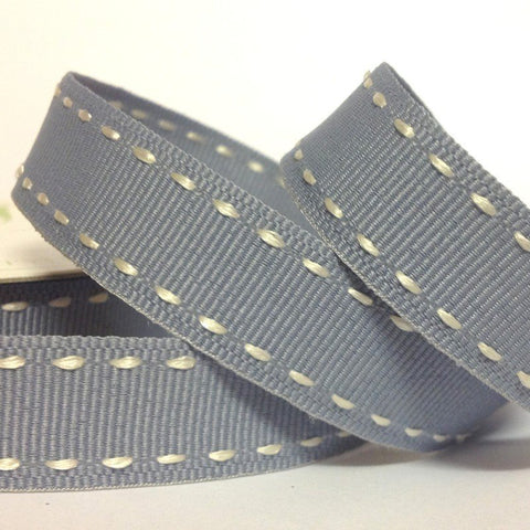 15mm Side Stitch Ribbon Slate Grey 4 Metre - Bakeworld.ie