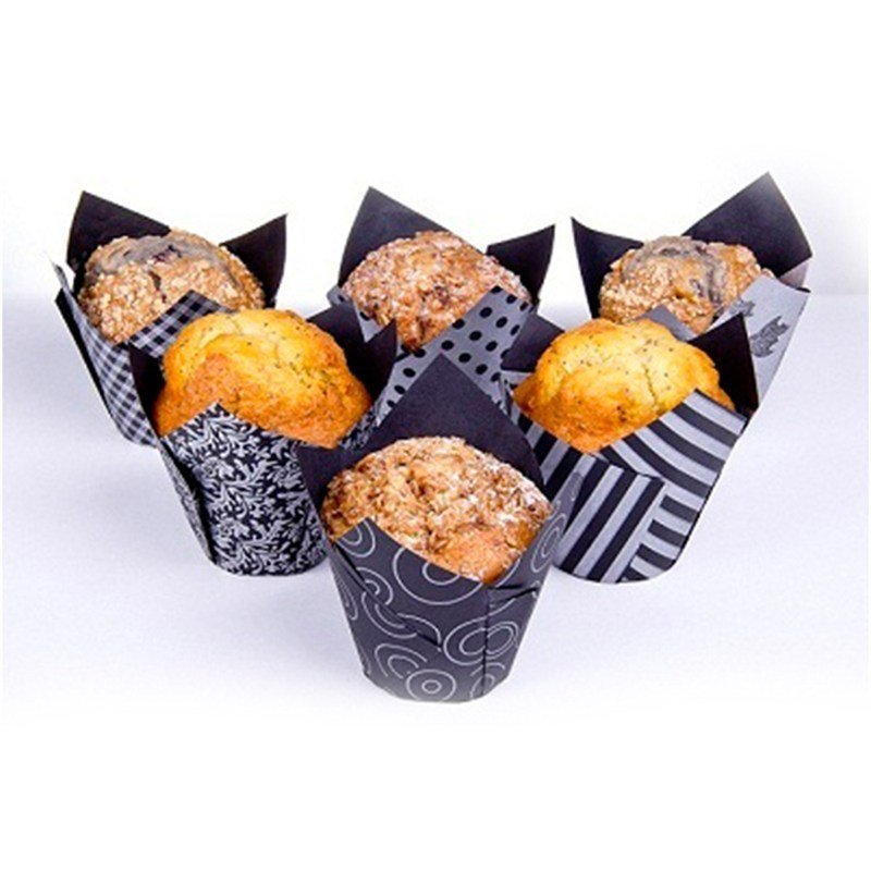 Vogue Black and Silver Tulip Cupcake Case - Pack of 36