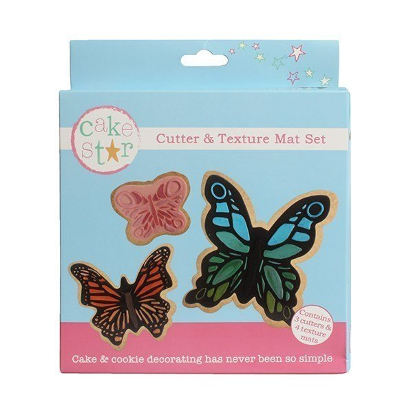 Cake Star Cutter & Texture Mat Set - Butterfly 3 Set - Bakeworld.ie