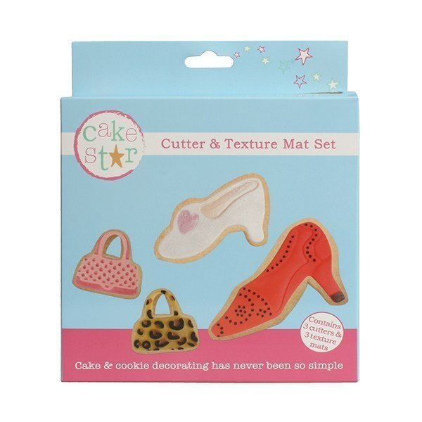 Cake Star Cutter & Texture Mat Set - Bags & Shoes 3 Set - Bakeworld.ie