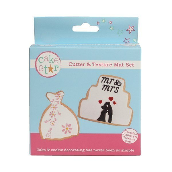 Cake Star Cutter & Texture Mat Set - Wedding Dress & Cake 2 Set - Bakeworld.ie