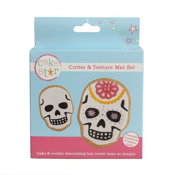 Cake Star Cutter & Texture Mat Set - Skulls 2 Set - Bakeworld.ie