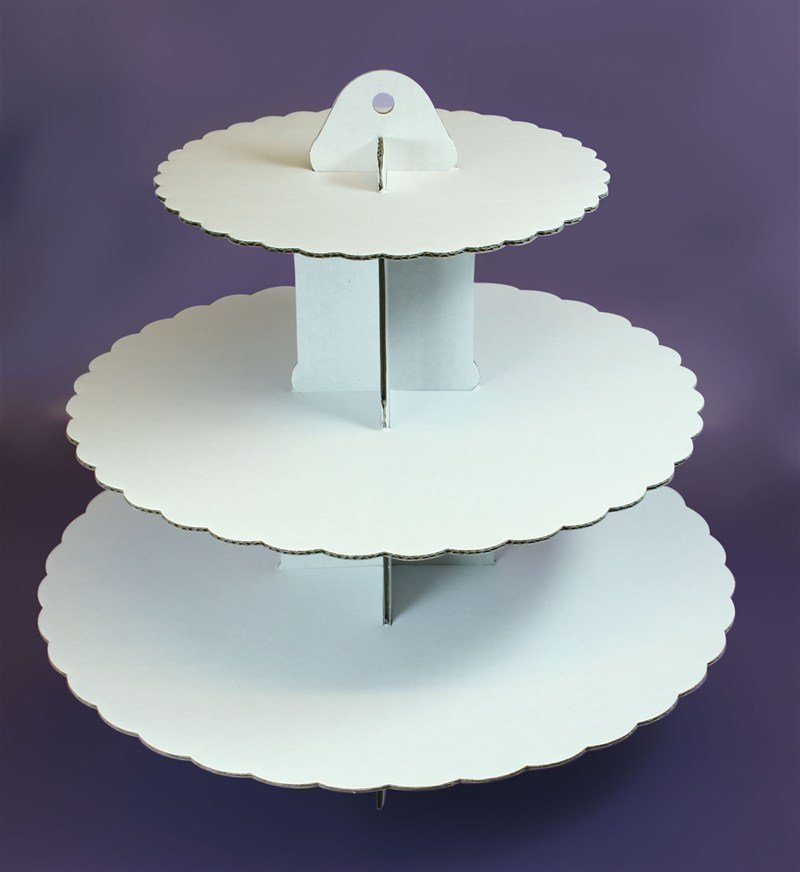 3 Tier White Cupcake Stand - Bakeworld.ie