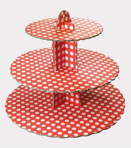 3 Tier red polka Cupcake Stand - Bakeworld.ie