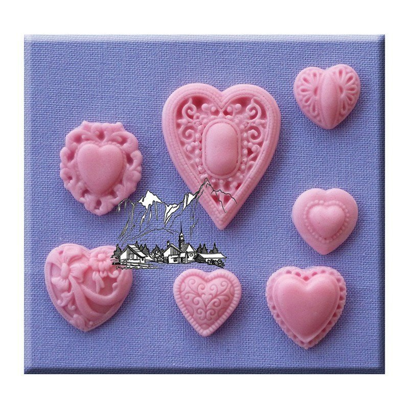 Alphabet Moulds - Patterned Hearts - Bakeworld.ie