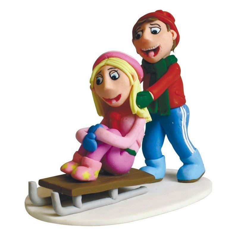 Claydough Children Sledging - Bakeworld.ie