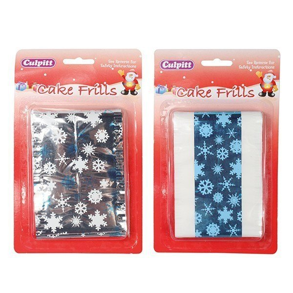 Assorted Metallic Print Christmas Cake Frills - 83 x 914mm - Bakeworld.ie