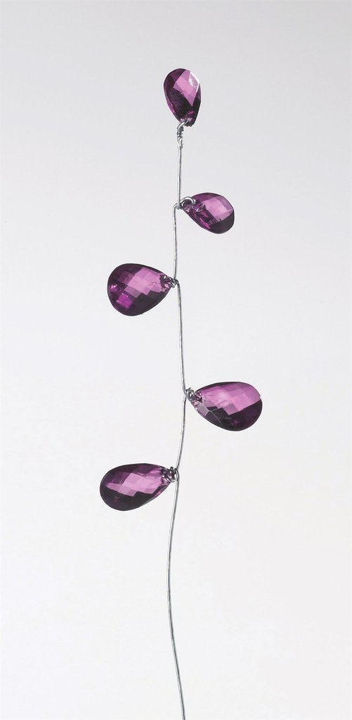 Purple Gems on Silver colour wire\ bunch of 6