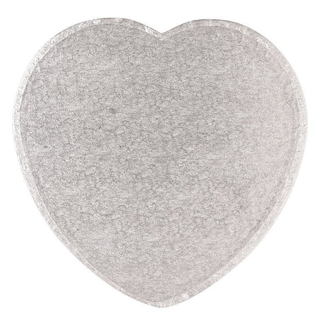 10'' (254mm) Cake Drum  Heart Silver Fern - Bakeworld.ie