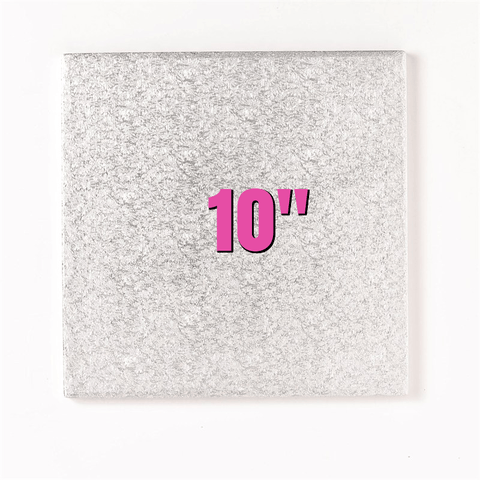 "10"" Square Silver Cake Drums - Bakeworld.ie"