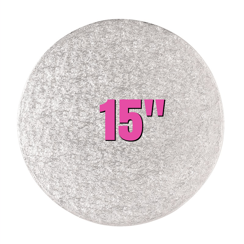 "15"" Round Silver Cake Drums - Bakeworld.ie"