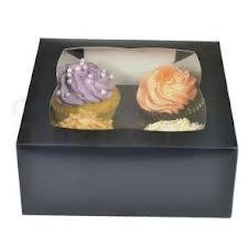 Black 4 Cupcake Box - Bakeworld.ie