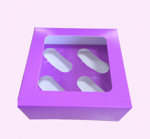 Purple 4 Cupcake Box