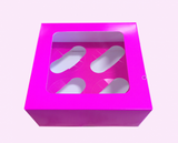 Bright Pink 4 Cupcake Box - Bakeworld.ie