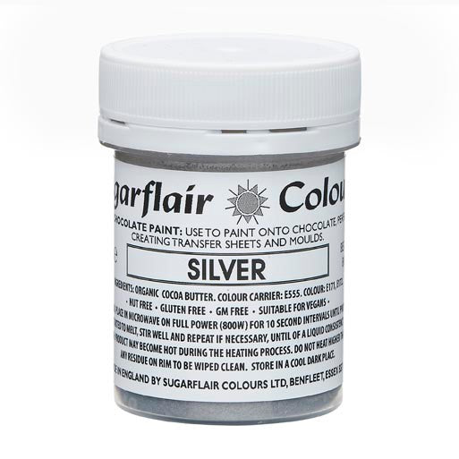 Sugarflair Chocolate Colouring Paint silver 35g