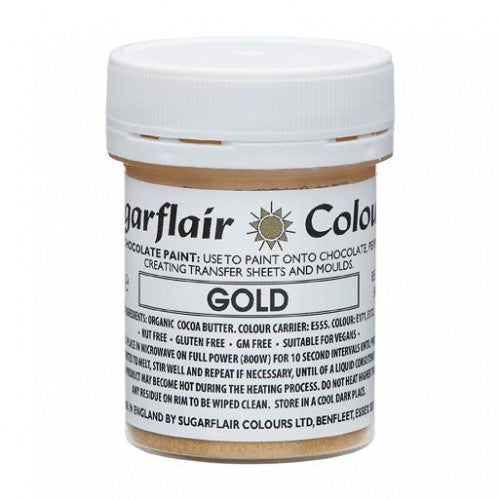 Sugarflair Chocolate Colouring Paint Gold 35g