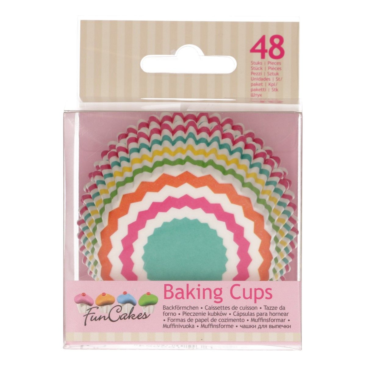 FunCakes Baking Cups -Colourful Chevron- pk/48