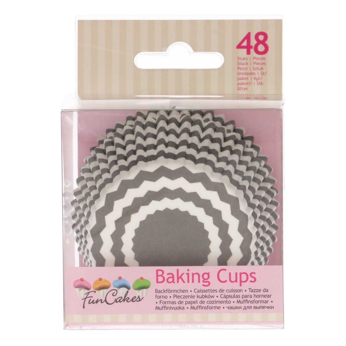 FunCakes Baking Cups -Chevron Grey- pk/48