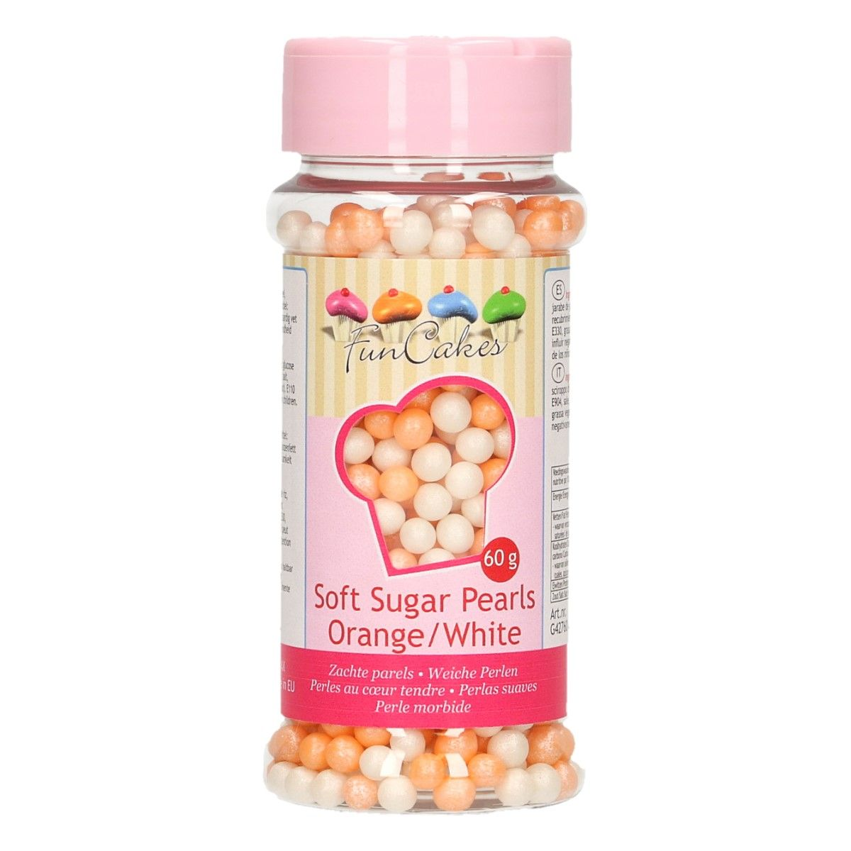 FunCakes Soft Pearls - Orange/White 60g