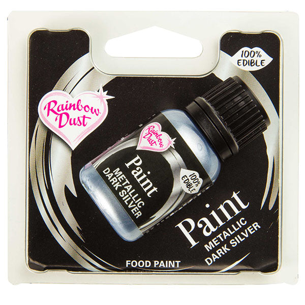 Edible Paints Metallic Dark Silver 25g