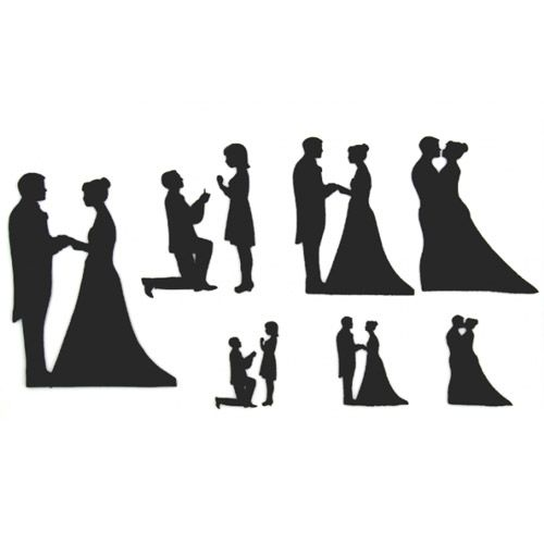 Patchwork Cutter Wedding Silhouette Set