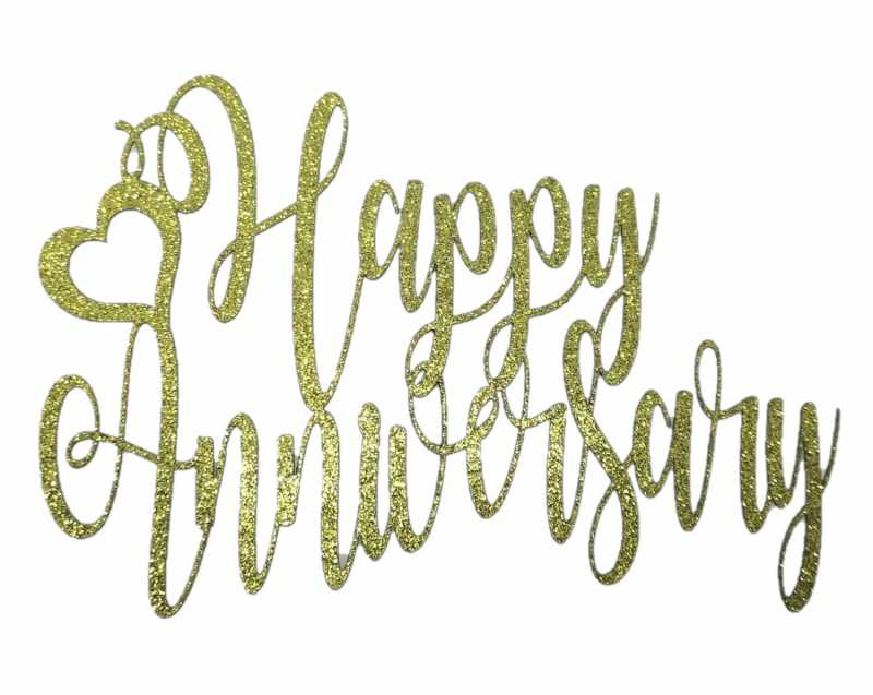 Cake Topper - Anniversary Gold
