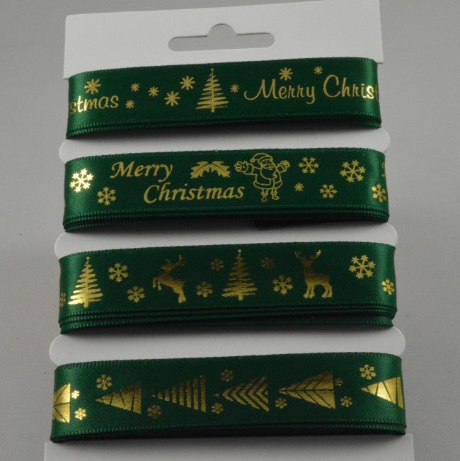 15mm Assortment Merry Christmas Green Ribbon 4 x 2 Mtr