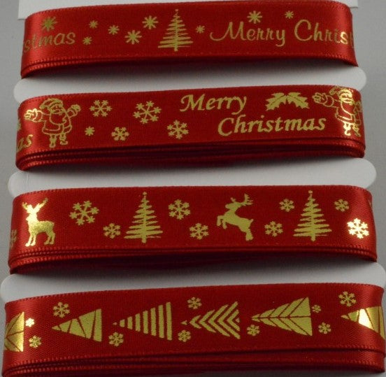 15mm Assortment Red Merry Christmas Ribbon 4 x 2 Mtr