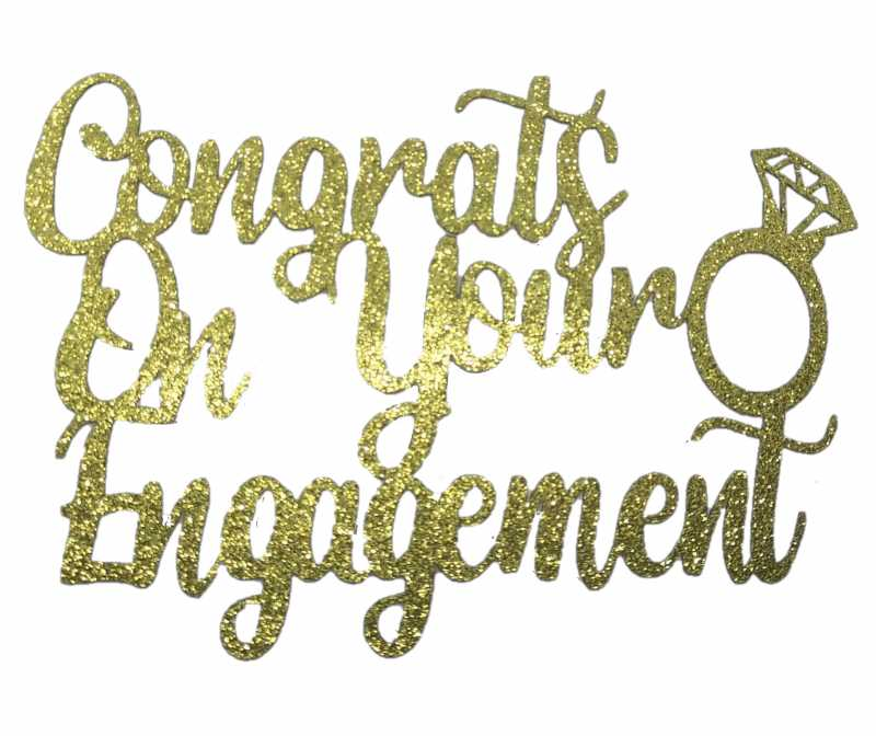 Cake Topper - Engagement Gold