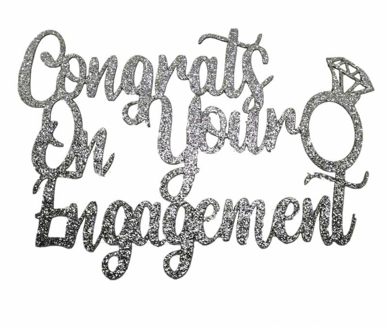 Cake Topper - Engagement Silver