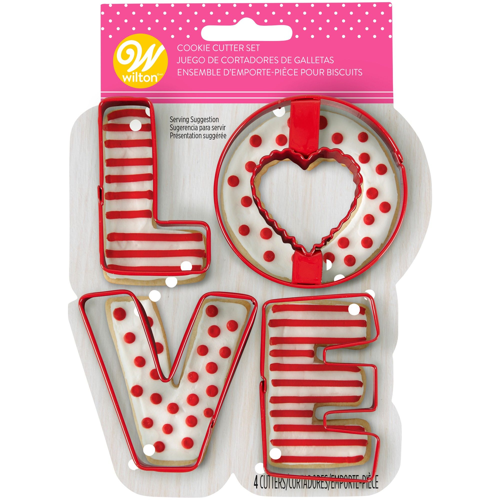Wilton : Coloured Metal Cutters - Love - Set of 4