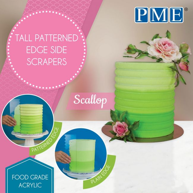 PME Tall Patterned Edge Side Scraper - Scallop Stripes