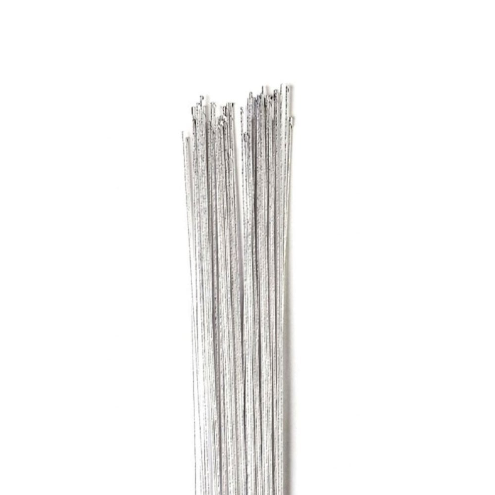 Silver Colour Floral Wire - 24g 50pk