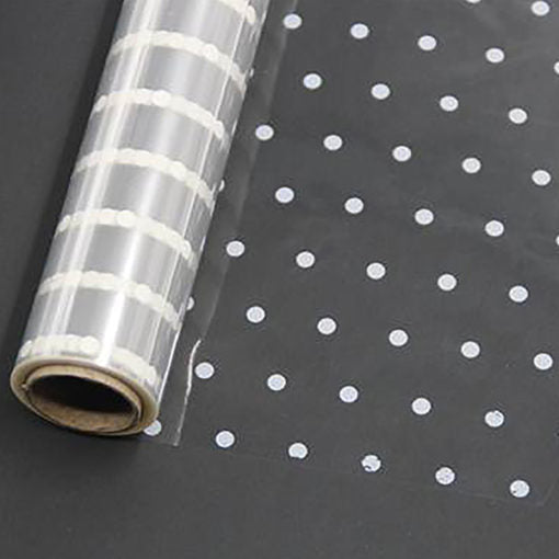 White Dot Cellophane  80 cm x 100 Metres