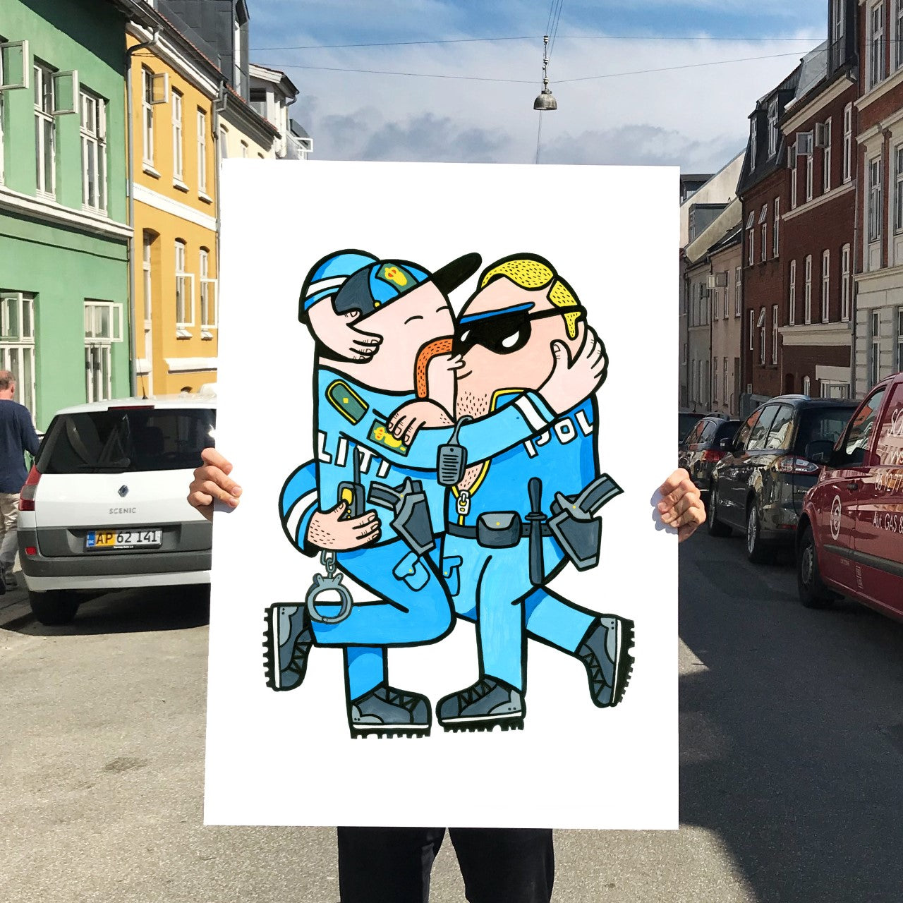 Image of   Kissing Cops - 70 x 100 cm