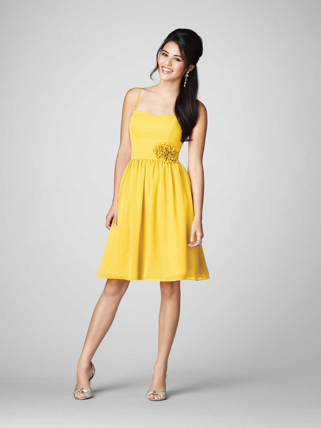 Alfred Angelo 7206 - Size 8 Canary - Spaghetti Strap Short Dress
