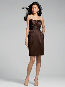 Alfred Angelo 7232 - Size 14 Espresso (brown) - Spaghetti Strap Short Dress
