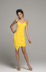 Alfred Angelo 7258 - Size 12 Canary (Yellow) - Spaghetti Strap Short Dress