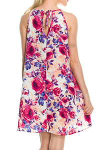 Floral Print Sleeveless Dress With Back Tie Detail